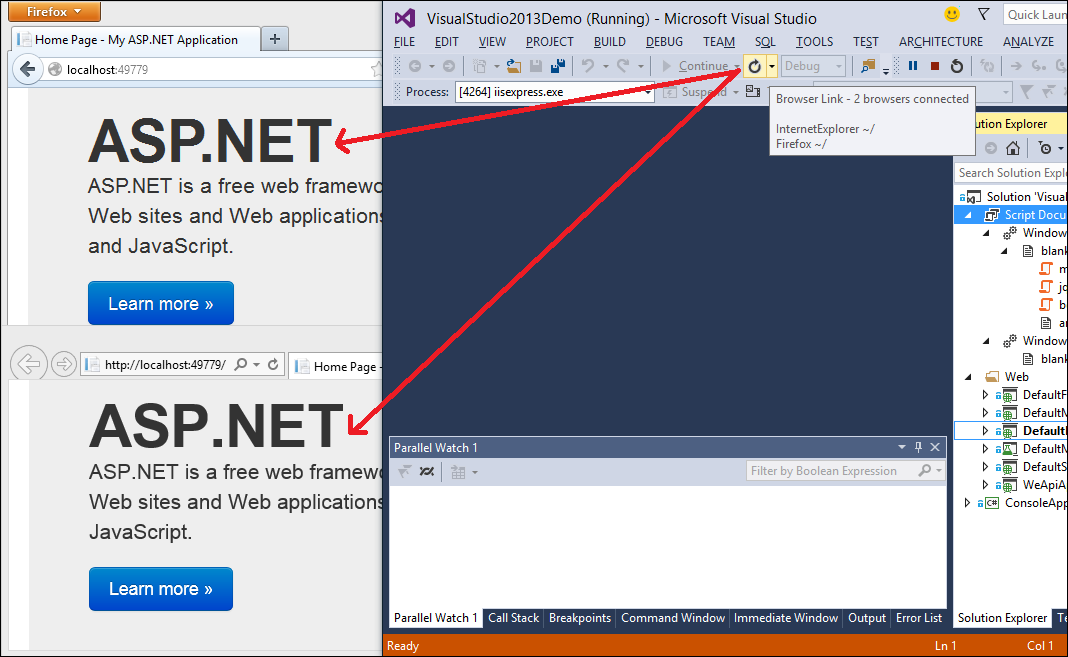 Visual Studio 2013: Browser Link refreshes web applications