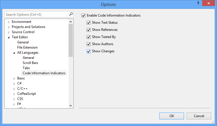 Visual Studio 2013: Code Information Indicators settings