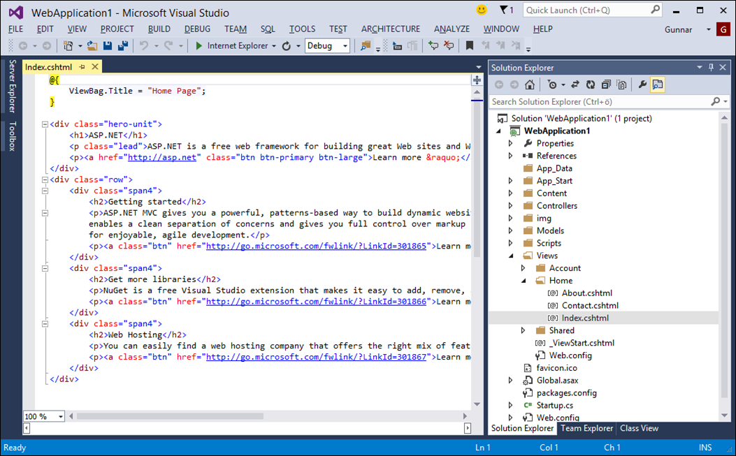 Visual Studio 2013: Default ASP.NET MVC project