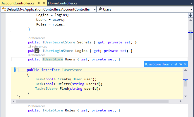 Visual Studio 2013: Peek definition