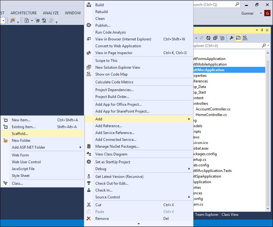 Visual Studio 2013: Add scaffold