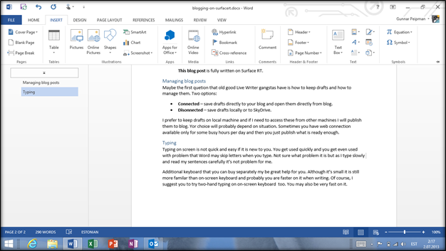Surface RT: Writing blog post on Word