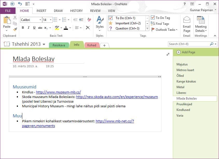OneNote: Information about city