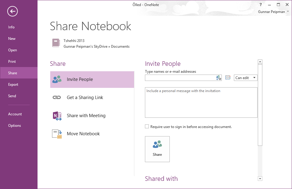OneNote: Share notebook