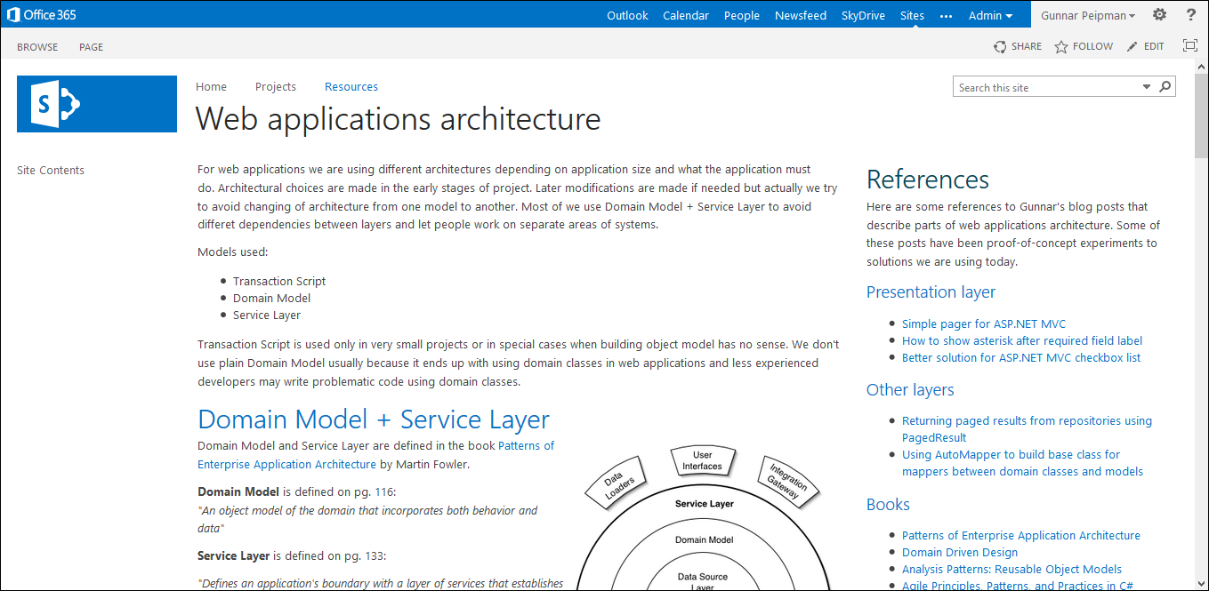 Web applications architecture guide in my extranet