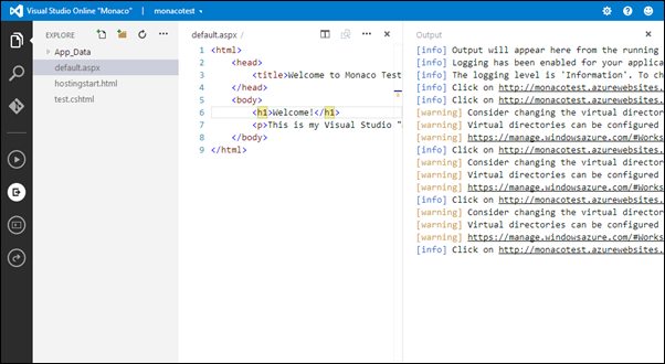 Visual Studio Online: Console Output