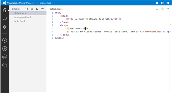 Visual Studio Online: Simple ASP.NET page