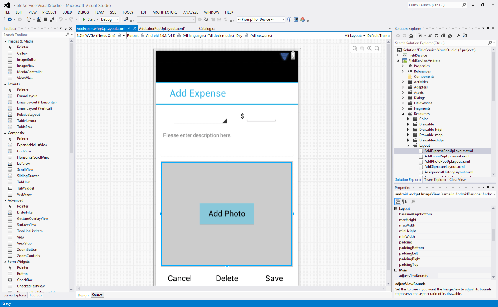 Xamarin Android layout designer in Visual Studio
