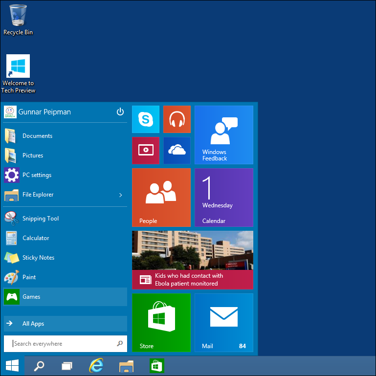 Windows 10: New start menu