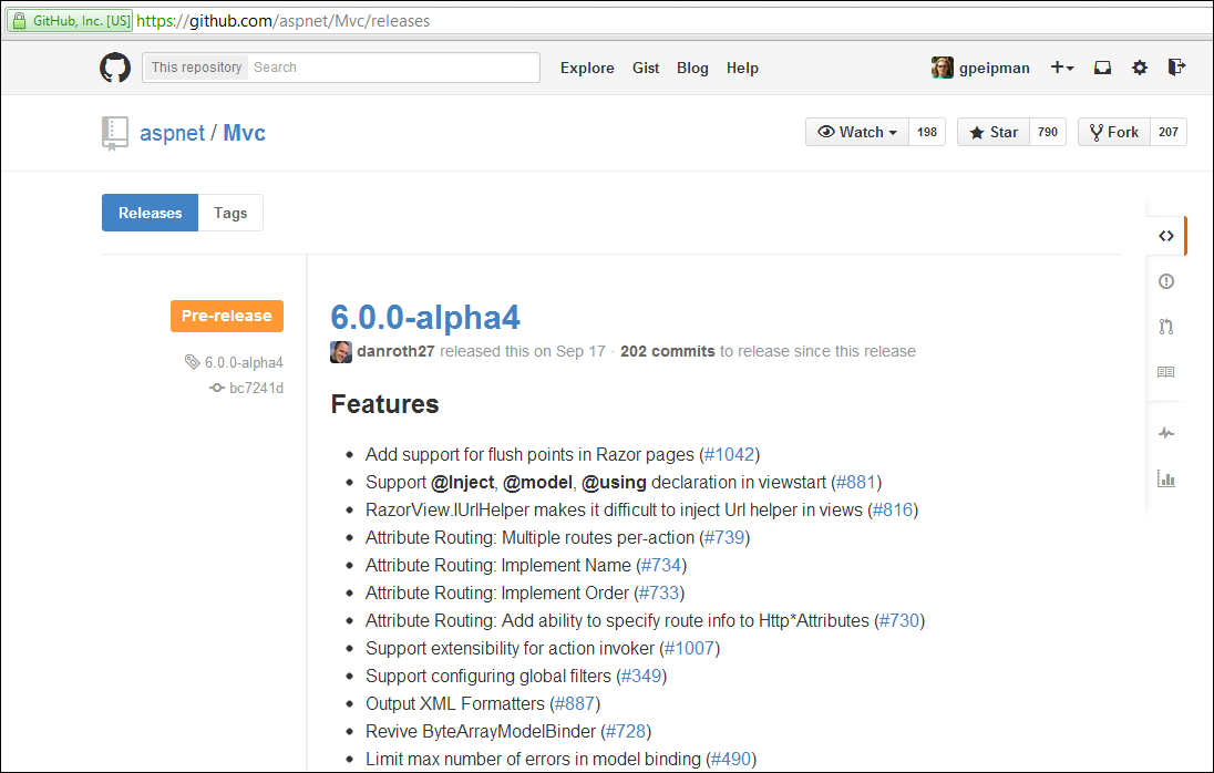 ASP.NET MVC releases at GitHub