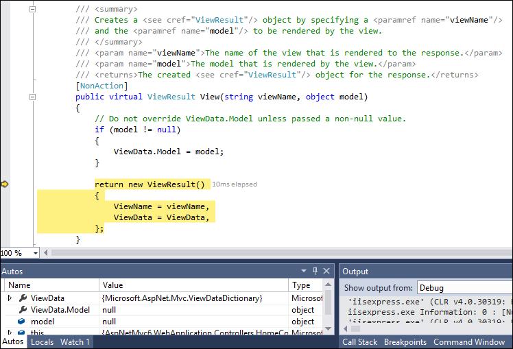 Debugger stops in ASP.NET MVC 6 source