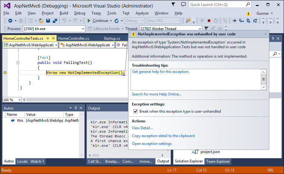 ASP.NET MVC 6: Test fails in Visual Studio