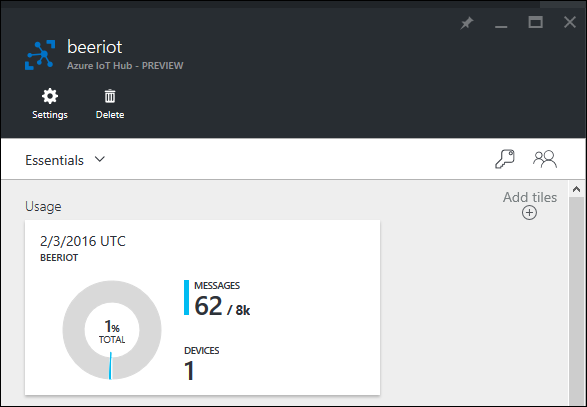 Azure IoT Hub main page showing number of messages and devices