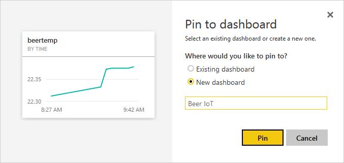 Power BI: Create dashboard and add report widget