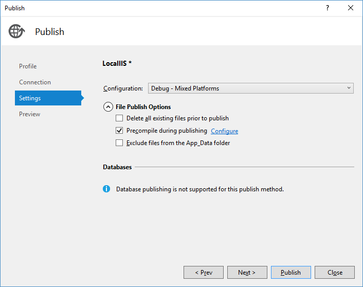 ASP.NET publishing settings