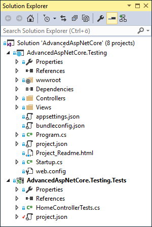 ASP.NET Core solution with test project