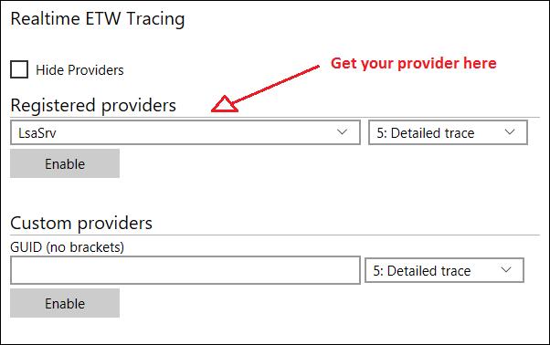 Windows 10 IoT: Registered ETW providers