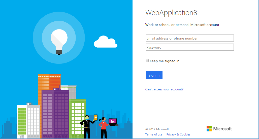 Microsoft Account log-in page