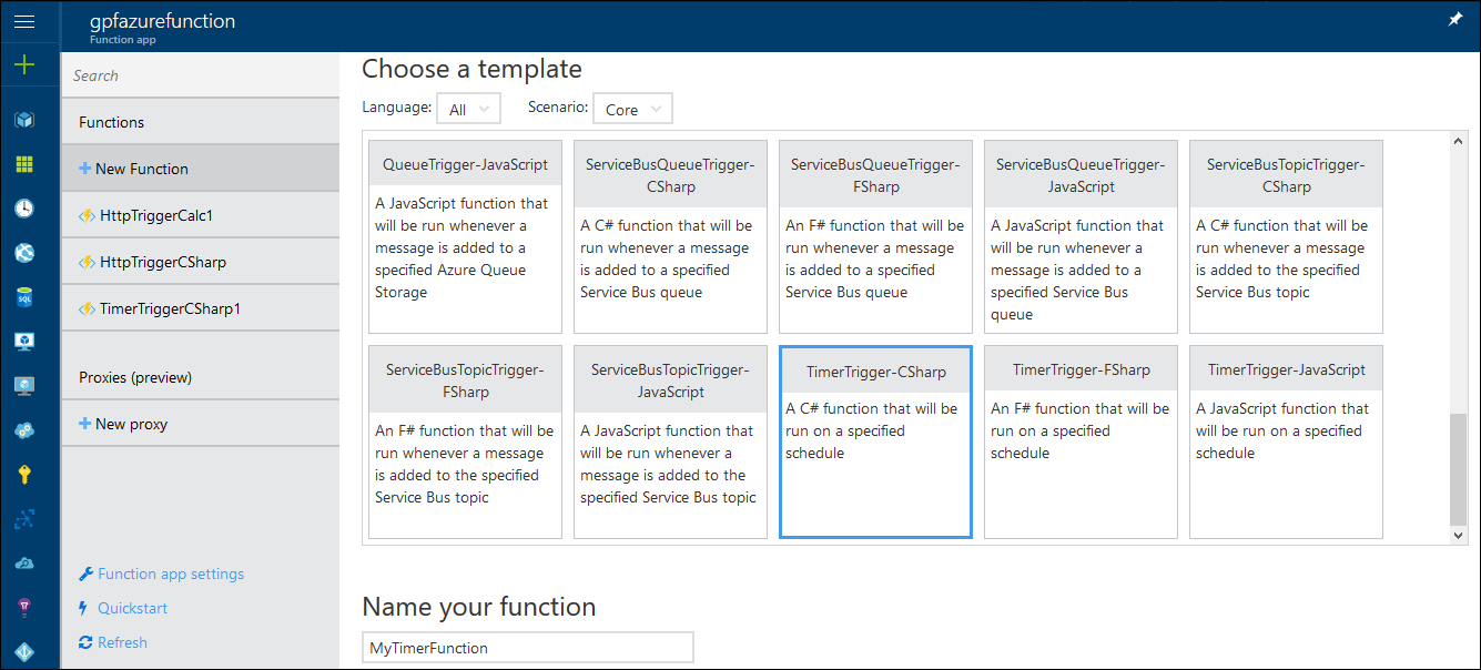 Azure Functions: Creating new timer trigger function