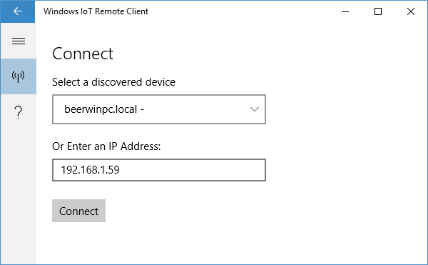 Connecting to Windows 10 IoT Core