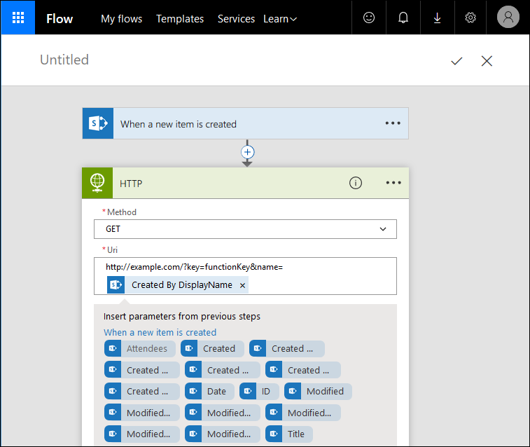 Microsoft Flow: Configure HTTP action