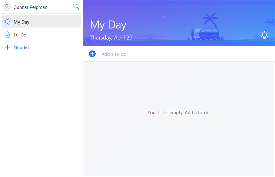 Microsoft To-Do: Empty current day view