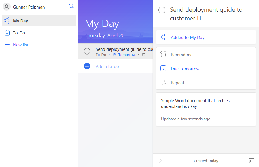 Microsoft To-Do: To-do item settings