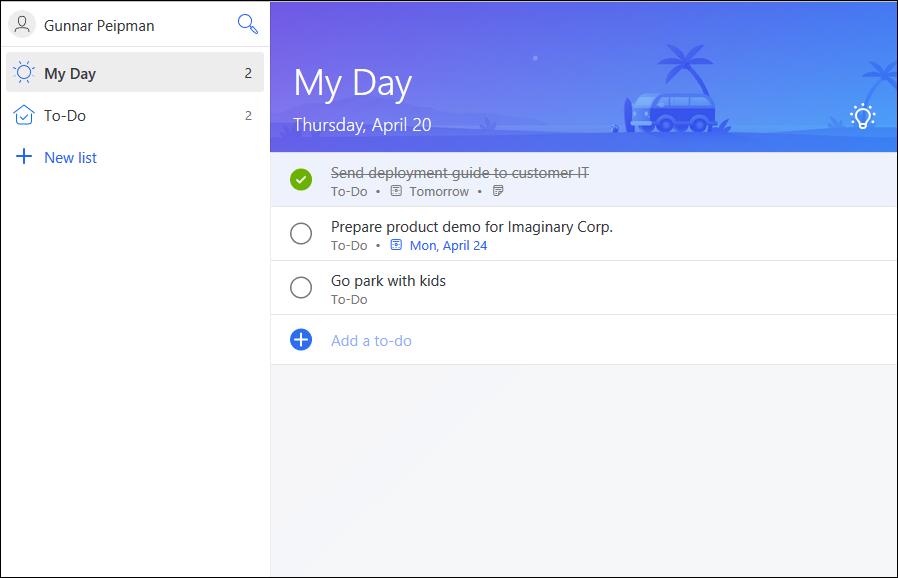 Microsoft To-Do: To-do items list