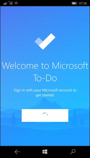Microsoft To-Do: Windows Phone app starting