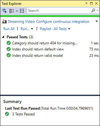 Succeeded tests in Visual Studio test runner