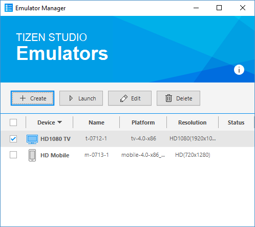 Tizen Emulator Manager