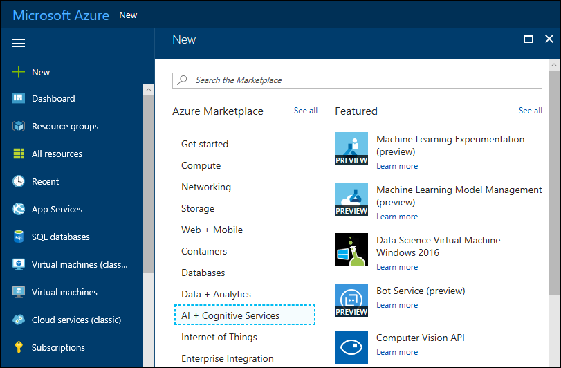 Add Computer Vision service to Azure subscription