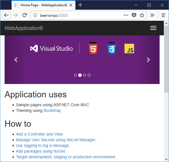 ASP.NET Core 2 application running on Windows 10 IoT Core