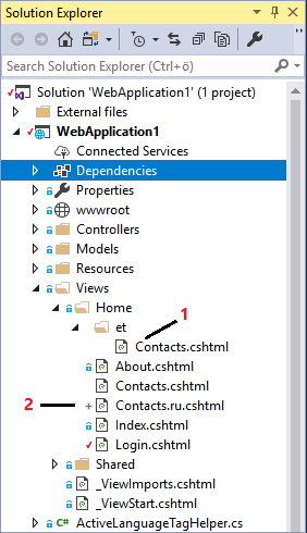 Culture based views in solution explorer