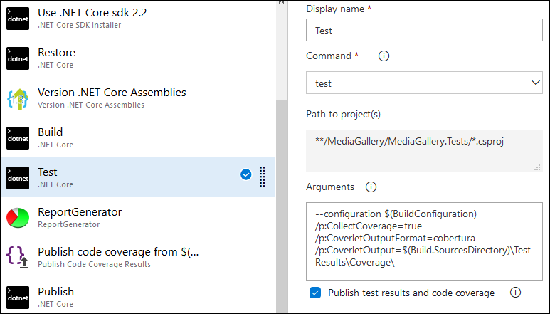 ASP NET Core code coverage reports on Azure DevOps